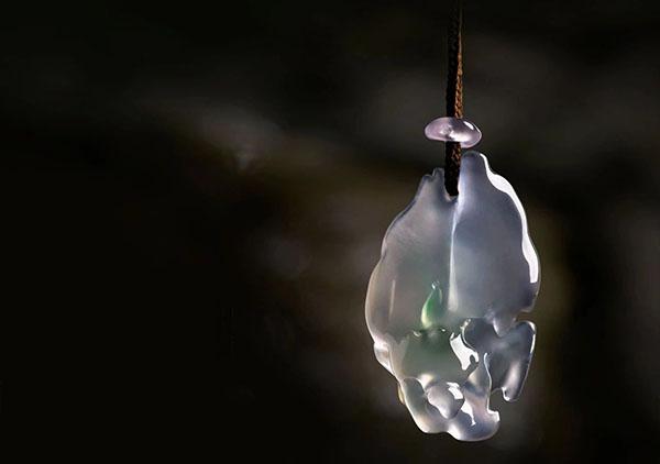 冰种春带彩果冻料翡翠挂件无相禅意灵韵欣赏