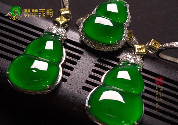 糯冰种浓绿翡翠葫芦镶嵌翡翠耳环耳坠的价值