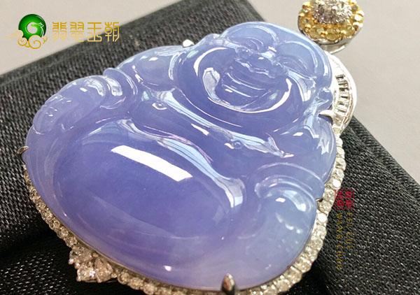 糯冰种紫罗兰玉佛翡翠挂件展现女性雅致富贵