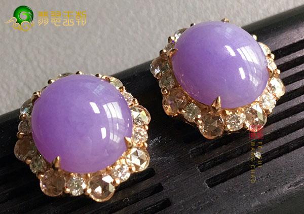 糯种紫罗兰翡翠蛋面镶嵌耳钉挑选的三大要点
