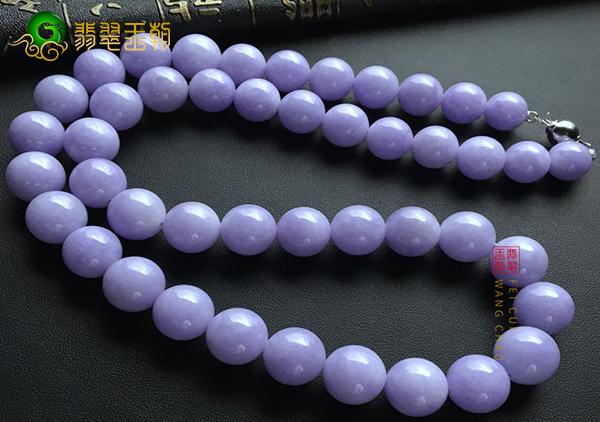 糯冰种紫罗兰翡翠珠串作为项链的挑选与讲究