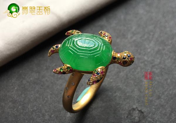 冰种翠绿色龟翡翠镶嵌戒指赠予妈妈长寿安康