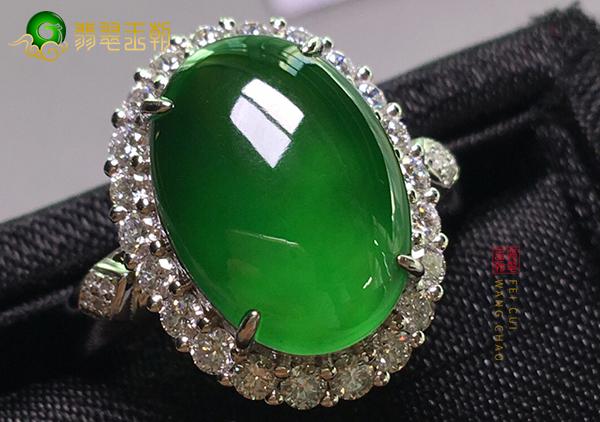 冰种浓绿翡翠戒面镶嵌戒指男女佩戴寓意不同
