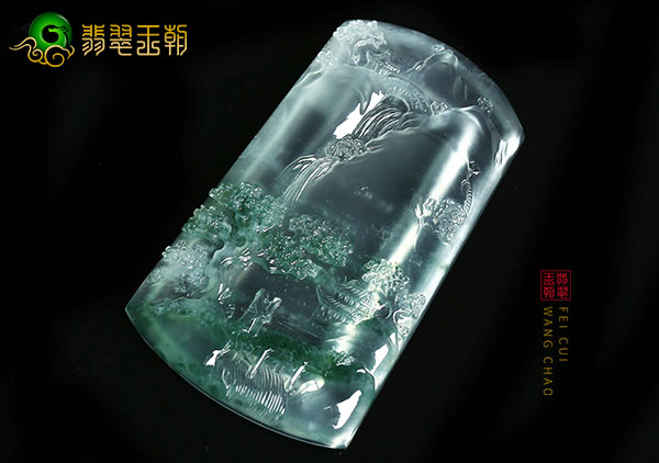 冰种无色飘花翡翠山水牌挂件挑选的三大妙招