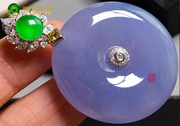 糯冰种紫罗兰平安扣翡翠挂件的颜色真假识别