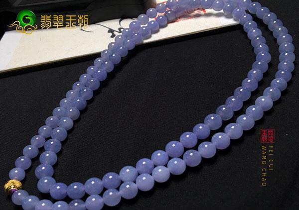 糯冰种紫罗兰翡翠珠串项链最清晰的价格对照表