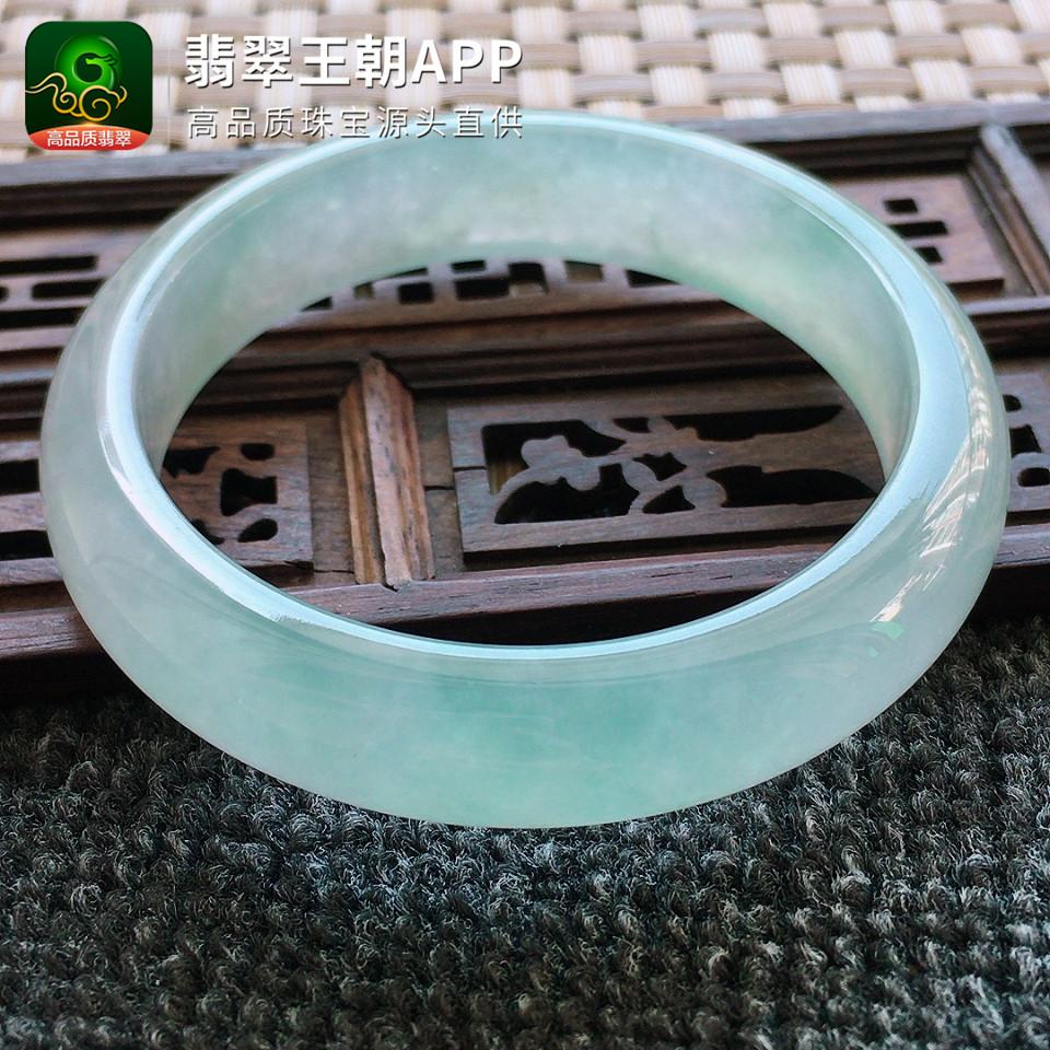 冰种晴水绿正装翡翠手镯正圈翡翠平安镯圈口57mm
