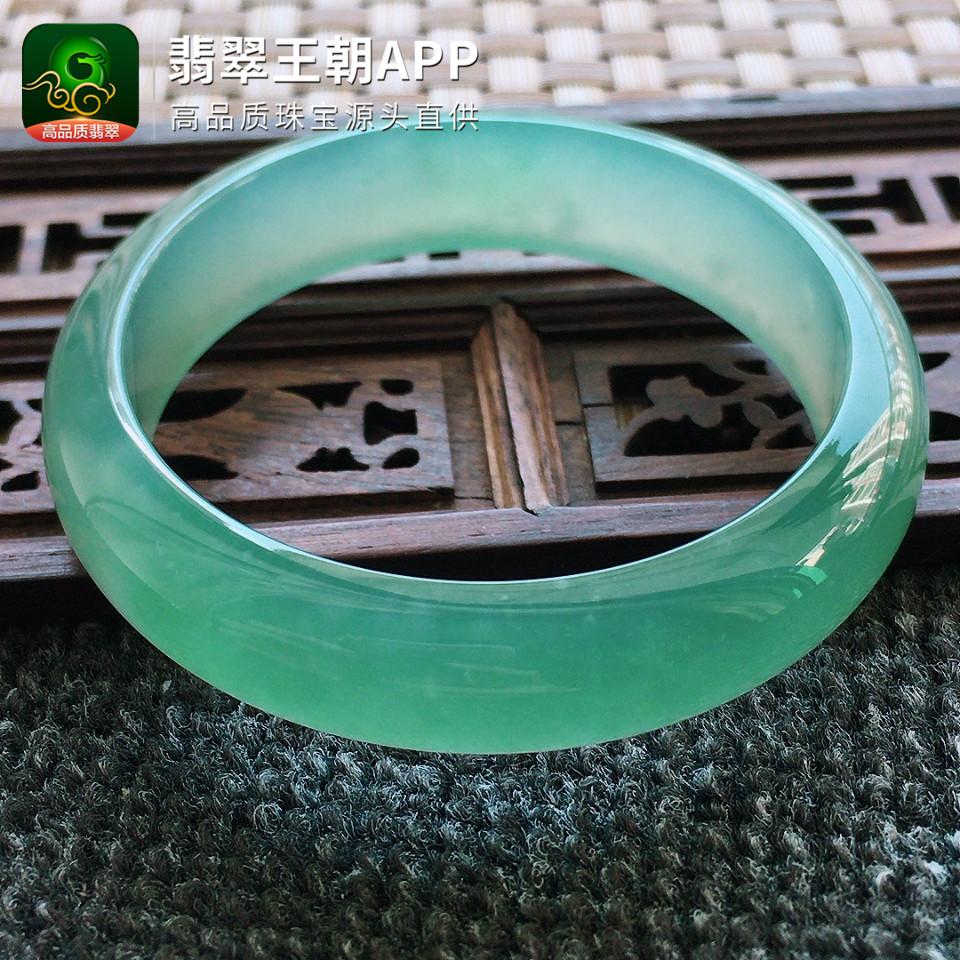 冰种绿晴水正装翡翠手镯宽边翡翠平安镯圈口55mm