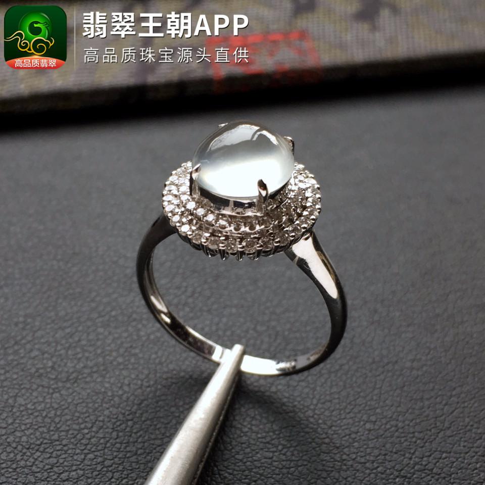 正冰种起光无色镶白金钻石晚装链/戒指一套