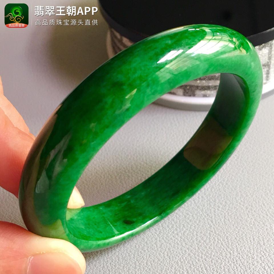 糯冰种浓绿翡翠手镯正圆翡翠平安镯